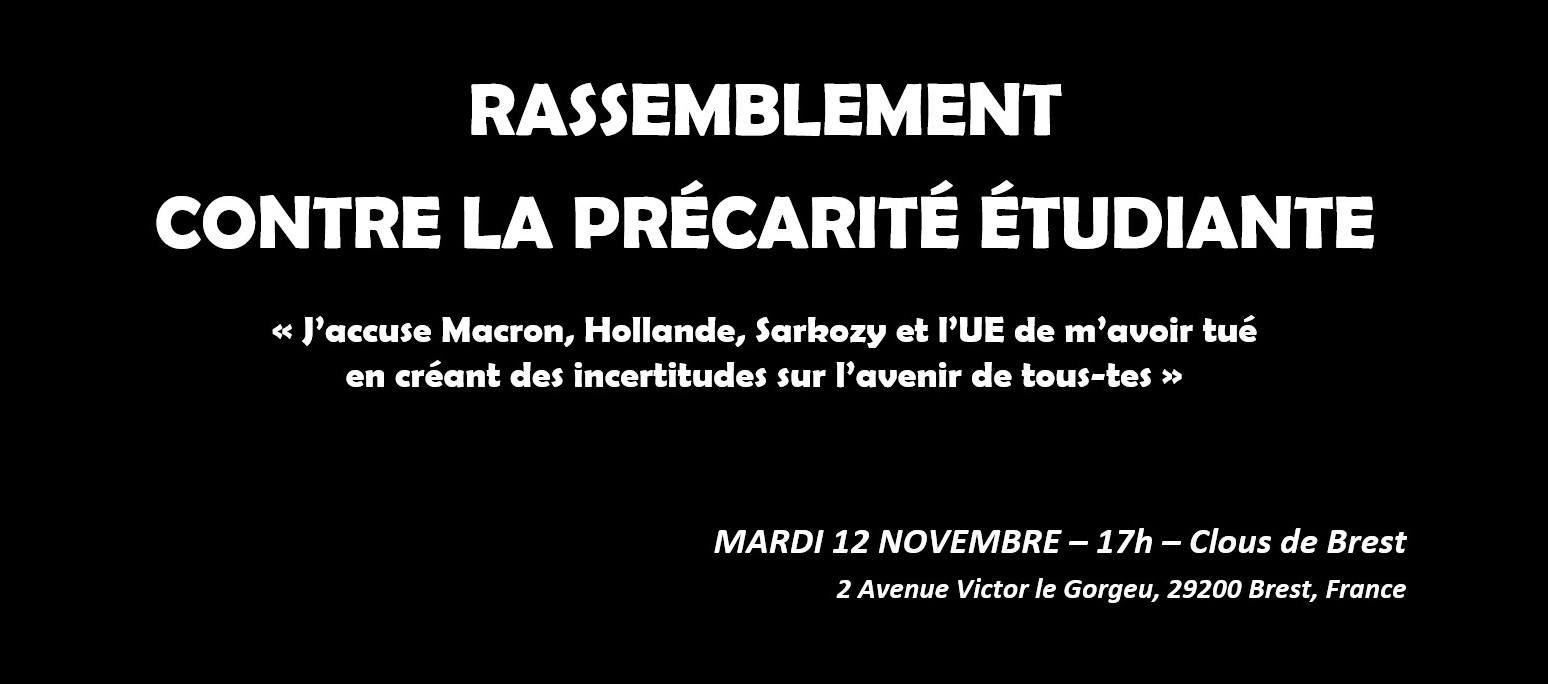 Mardi 12 Novembre, disons stop à la précarité étudiante !