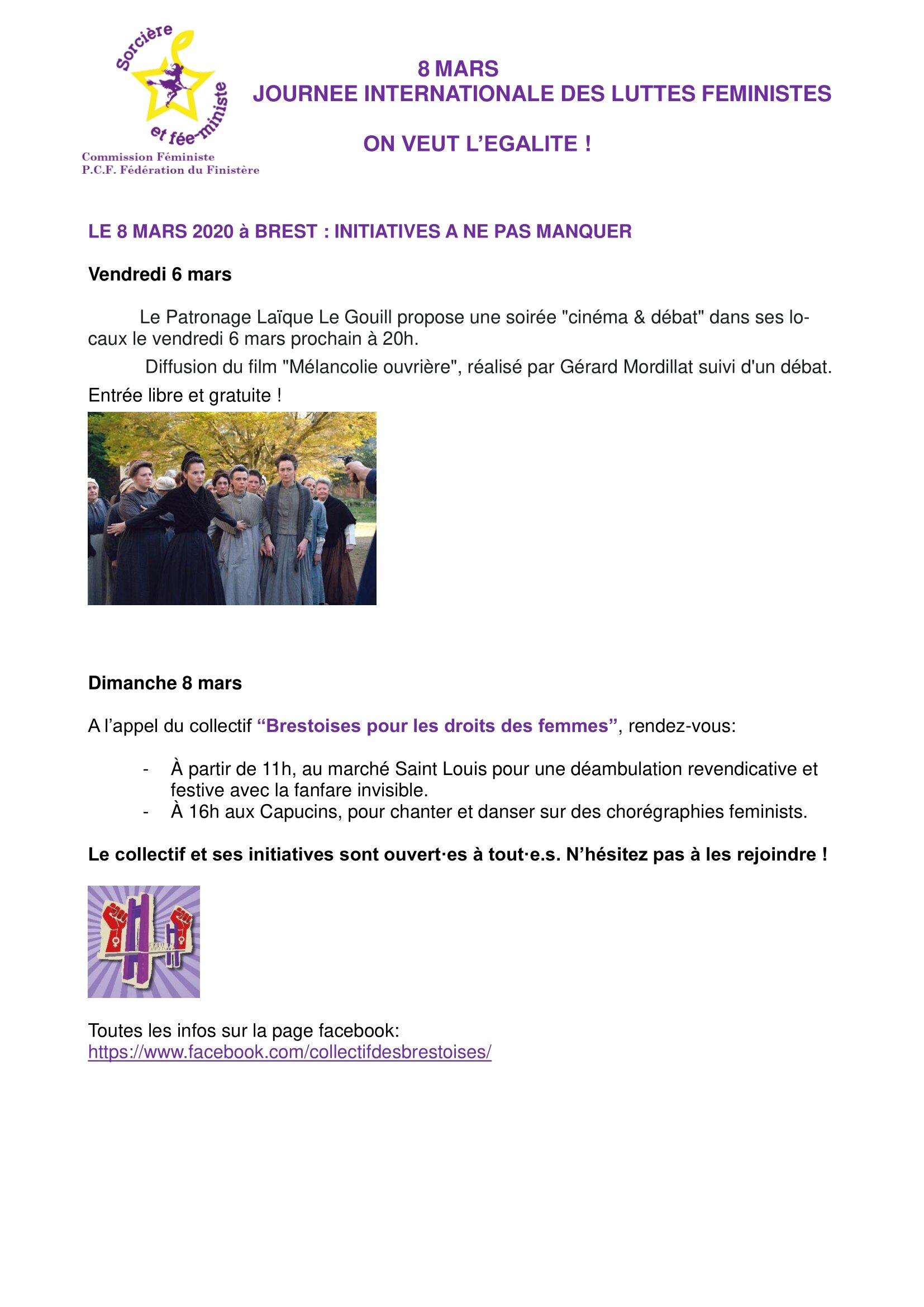 8 MARS : Initiatives à Brest.