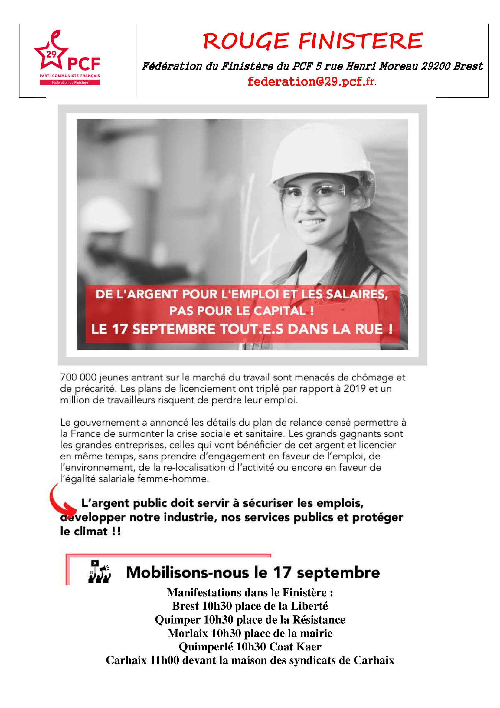 17 septembre : de l'argent pour l'emploi et les salaires, pas pour le capital !