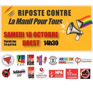 Riposte contre la «Manif Pour Tous» et #marchonsenfants RDV samedi 10/10 14h30 fac Segalen Communiqué de Presse inter-orga.