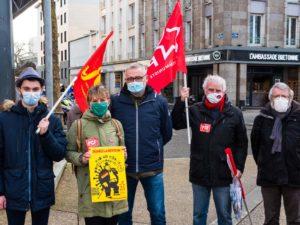 Brest, 4 Février, les communistes mobilisé.e.s avec les syndicats pour l'emploi, les salaires, le recul de la précarité.